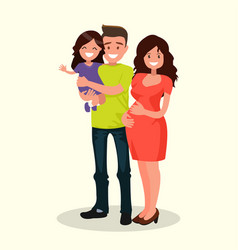 dad daughter and pregnant mother vector image