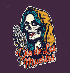 dia de los muertos colorful badge vector image