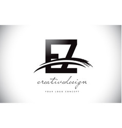 Ez e z letter logo design with swoosh and black vector
