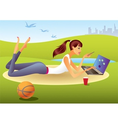 Fashion girl with laptop in the park vector image