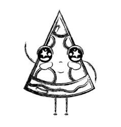 Figure kawaii cute tender slice pizza food vector