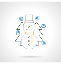 Flat color line funny snowman icon vector image