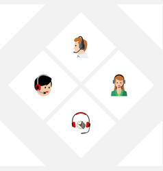 flat hotline set of operator secretary headphone vector image