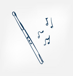 flute sketch isolated design element vector image