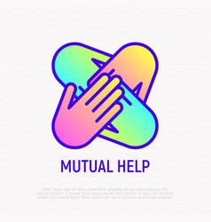 Four hands together thin line icon vector