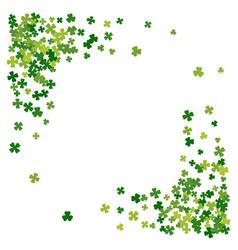 Frame or border random scatter clover leaves vector