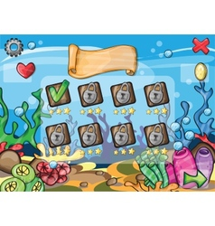 Game elements for underwater game theme vector image