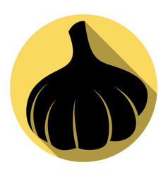 garlic simple sign flat black icon with vector image