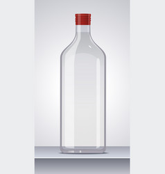 glass vodka bottle with red cap vector image
