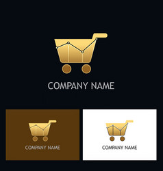 gold shopping cart business logo vector image
