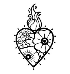 Graphic heart with floral decorations vector