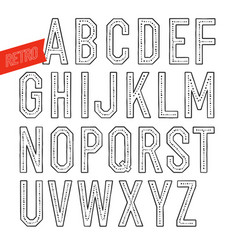 handmade retro font blak letters on white vector image