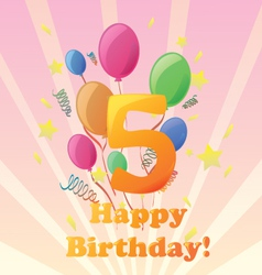 happy birthday five years old vector image