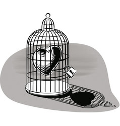 Heart imprisoned in a birdcage vector