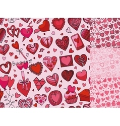 Hearts hand drawing doodleseamless patternPink vector image