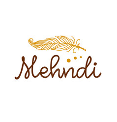 henna mehndi feather logo vector image