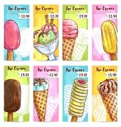 Ice cream menu price tags color sketch vector