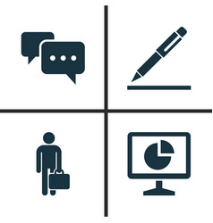 Job icons set collection of statistics chatting vector