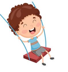 kid swinging vector image