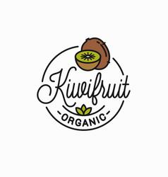 kiwi fruit logo round linear logo kiwi slice vector image