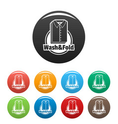 laundry shirt wash and fold icons set color vector image