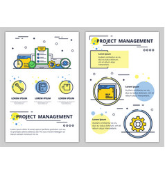 Line art project management poster banner vector