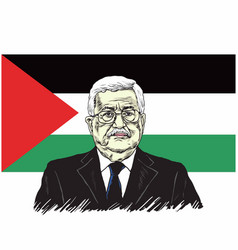 Mahmoud abbas president of palestine with flag vector