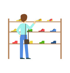Man buying shoes in a shoe store colorful vector