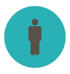 Man flat grey and cyan colors round button vector
