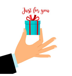man hand holding gift box vector image