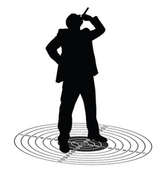 Man with cigarette on the target vector