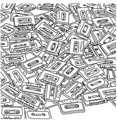 manytape cassette sketch doodle vector image