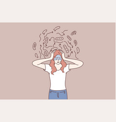 Mental chaos frustration anxiety concept vector