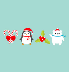 merry christmas icon set candy cane stick vector image
