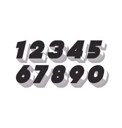 Number set 3d bold black and white color vector