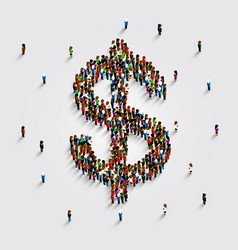 people stand in the shape of a dollar money symbol vector image