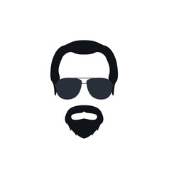 portrait a bearded man in glasses vector image