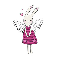 Pretty cartoon bunny girl in a dress rabbit with vector
