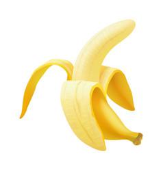realistic banana realistic half peeled vector image