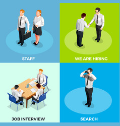 Recruitment isometric people set vector