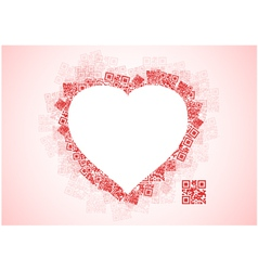 Red Heart Shape Patchwork of QR Codes vector image