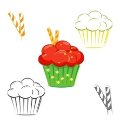 Red topping cupcake set vector