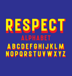 Respect alphabet yellow red letters font vector