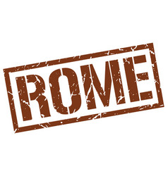Rome brown square stamp vector