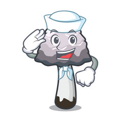 Sailor shaggy mane mushroom character cartoon vector