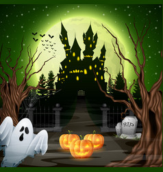scary castle with ghost and pumpkins in the wood vector image