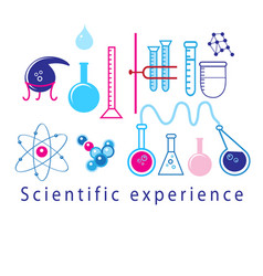 Scientific experiments in test tubes vector