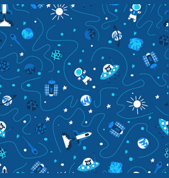 Seamless background with spaceships and stars vector