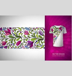 Seamless floral pattern on t-shirt mockup vector