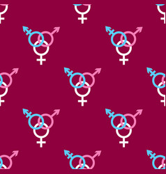 seamless pattern with trans gender sign on dark vector image